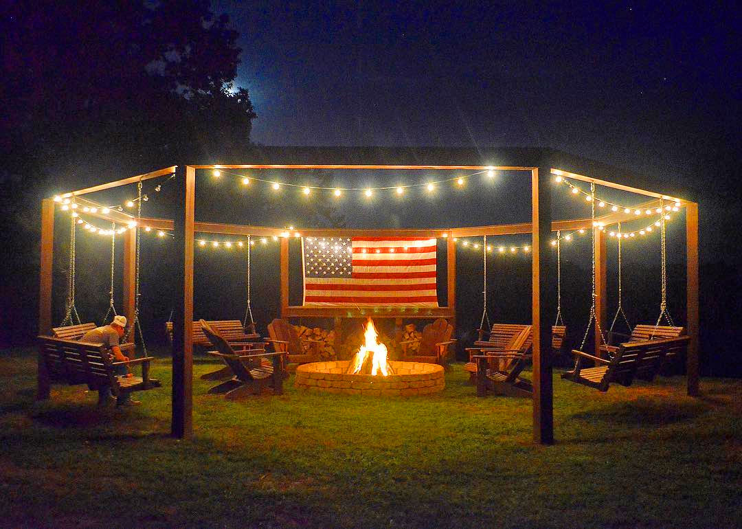 This Diy Backyard Pergola With Swings Is The Perfect Piece To Surround Your Fire Pit