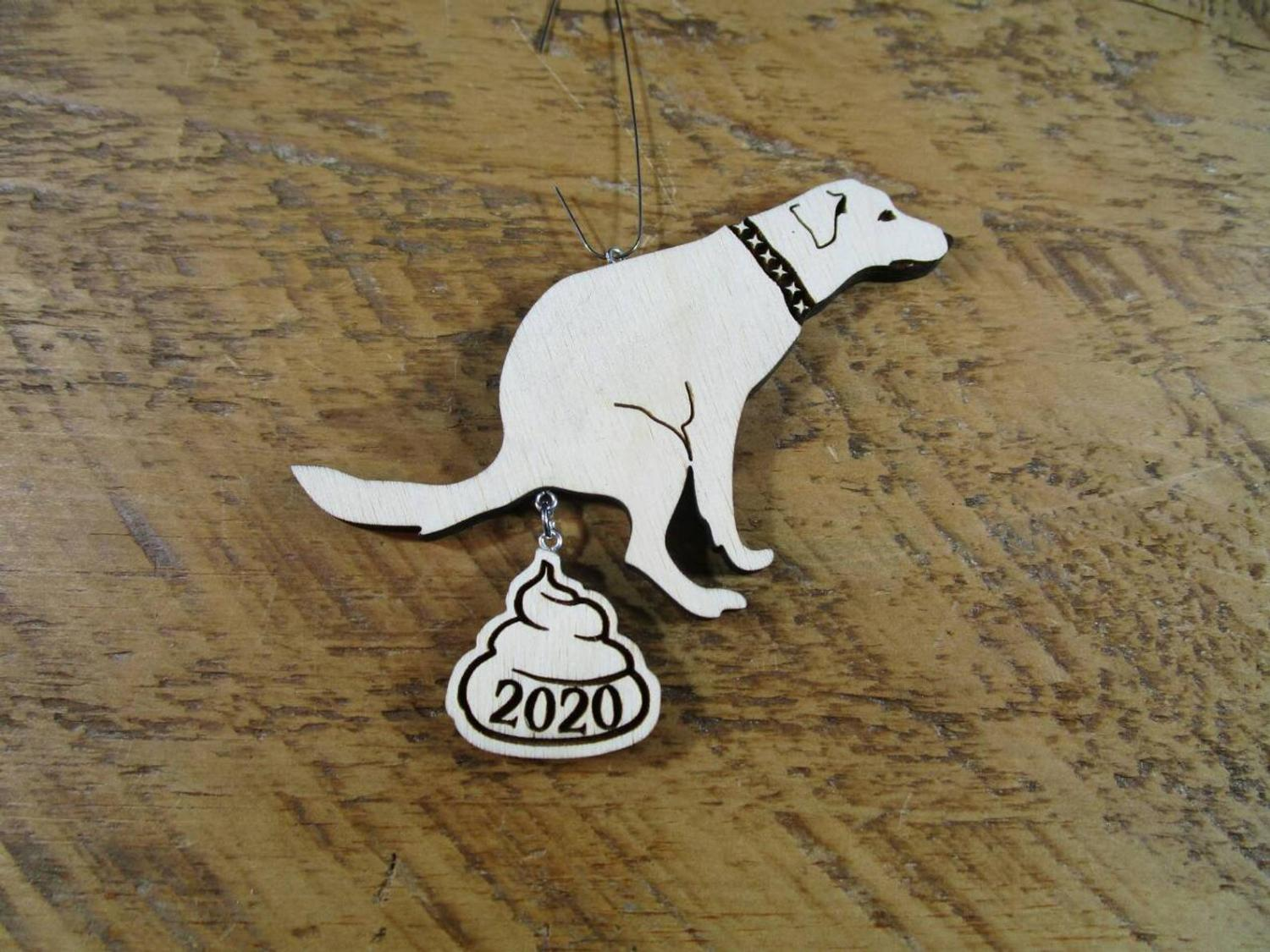 Dog Poop 2020 Christmas Ornament - Funny dog pooping on 2020 ornament