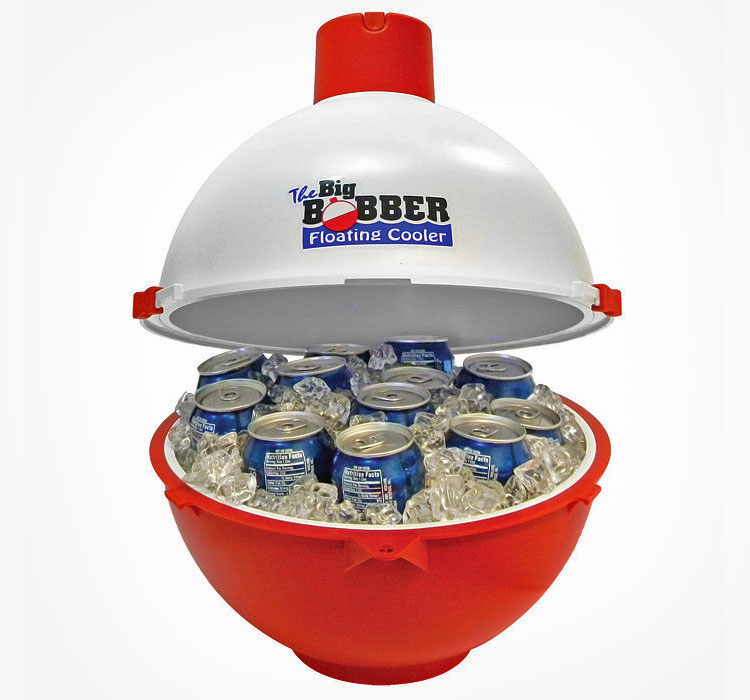 this floating beer cooler is shaped like a giant fishing bobber 6109