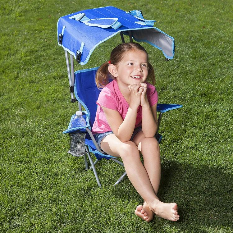 Kids folding canopy chair protects kids from the sun and gives shade - Kelsyus folding kids camping chair