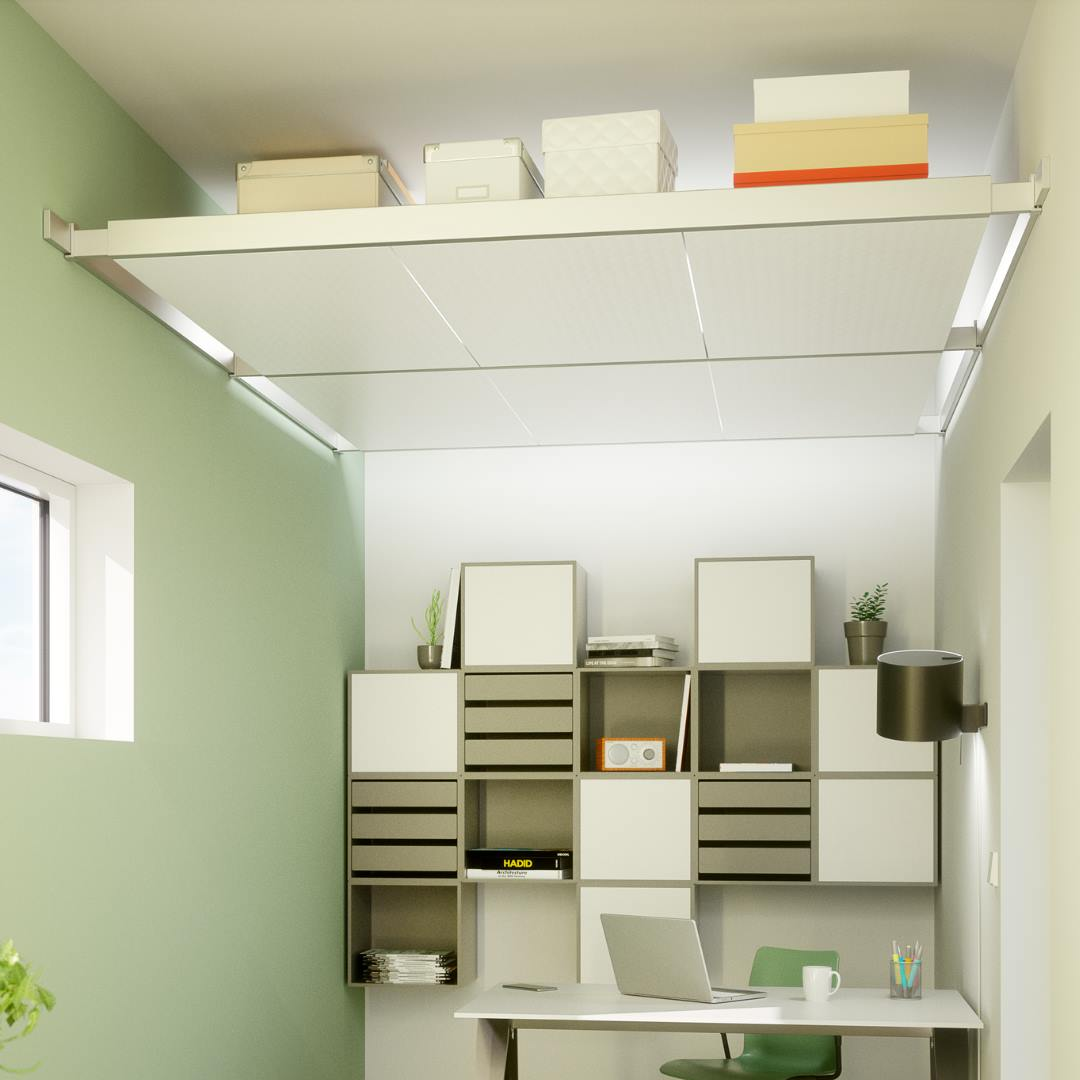 Genius Ceiling Storage Solution - Beam-it-up tiny home ceiling storage kit