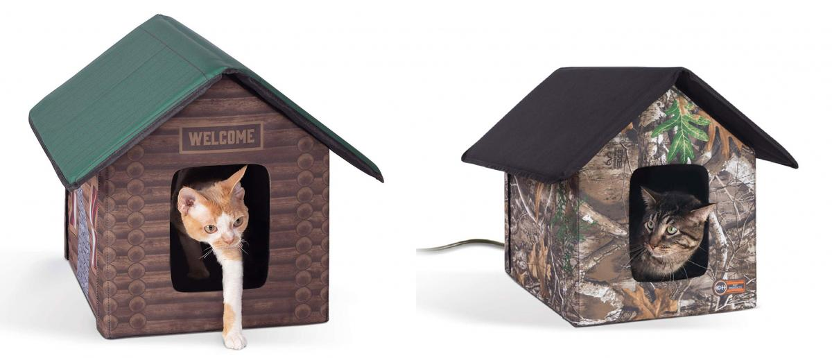 Heated Outdoors Cat House - Electric cat house keeps kitties warm while outside during winter