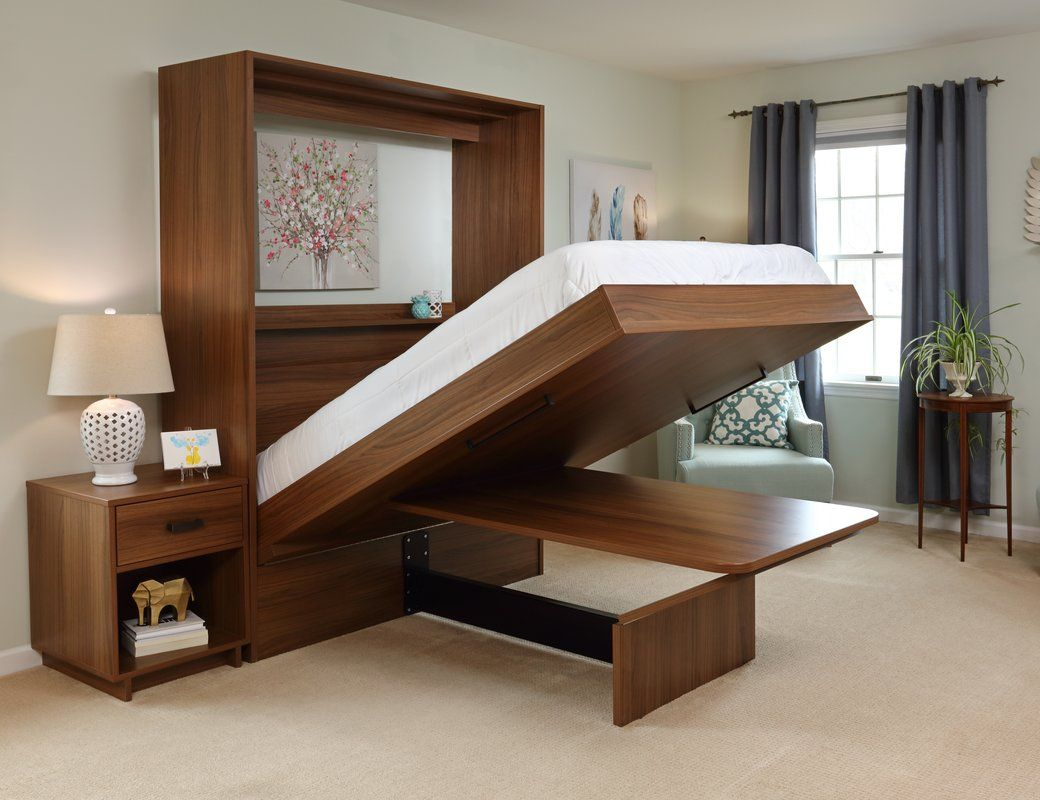 Murphy Bed Turns Into a Desk or Dining Table When Folded Up