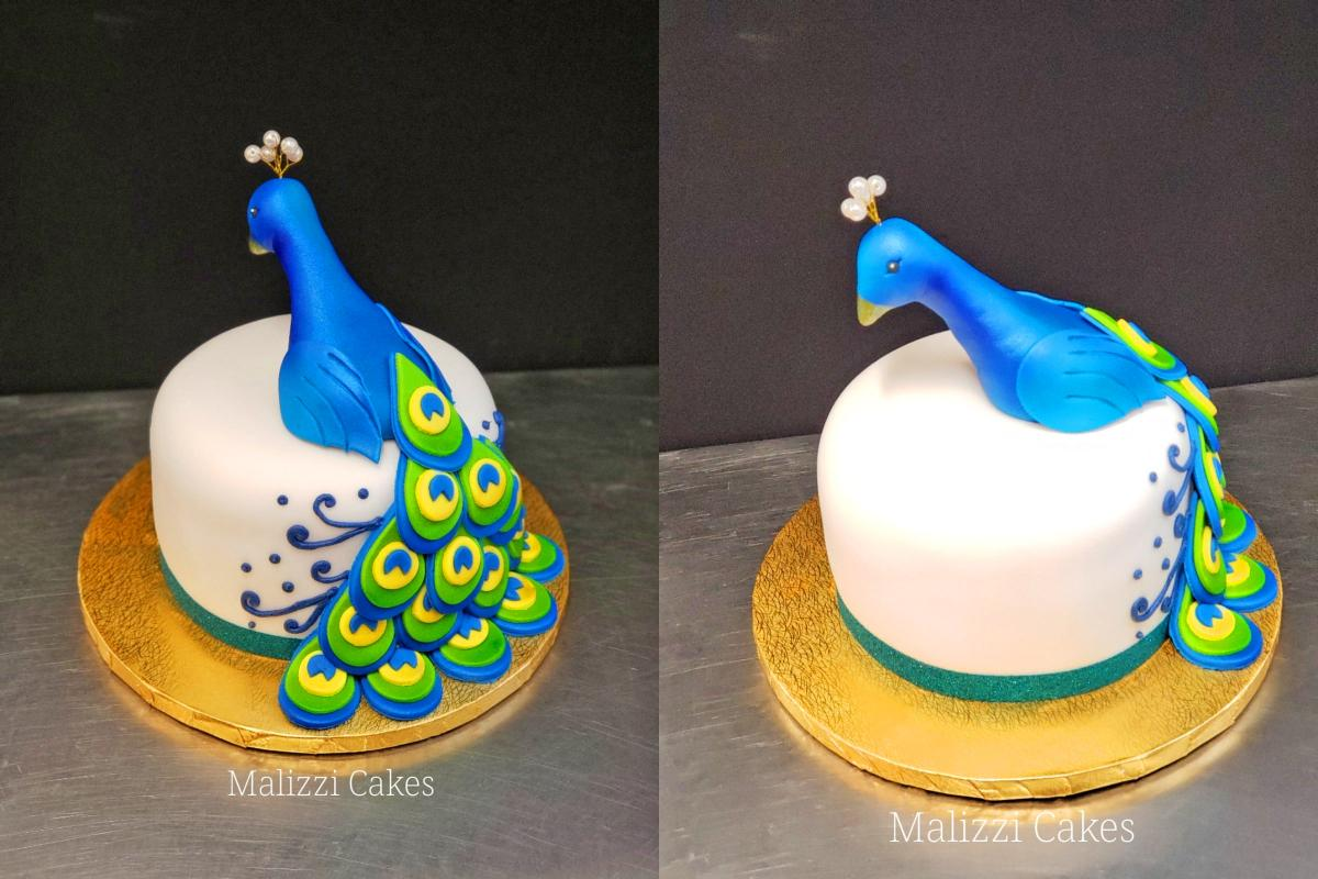 Wondrous This Incredible Peacock Wedding Cake Uses Cupcakes For The Tail Personalised Birthday Cards Veneteletsinfo
