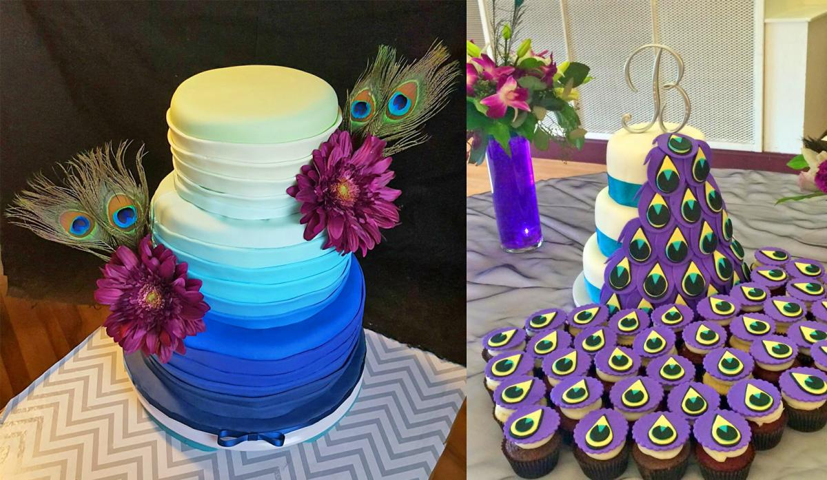 This Incredible Peacock Wedding Cake Uses Cupcakes For The Tail