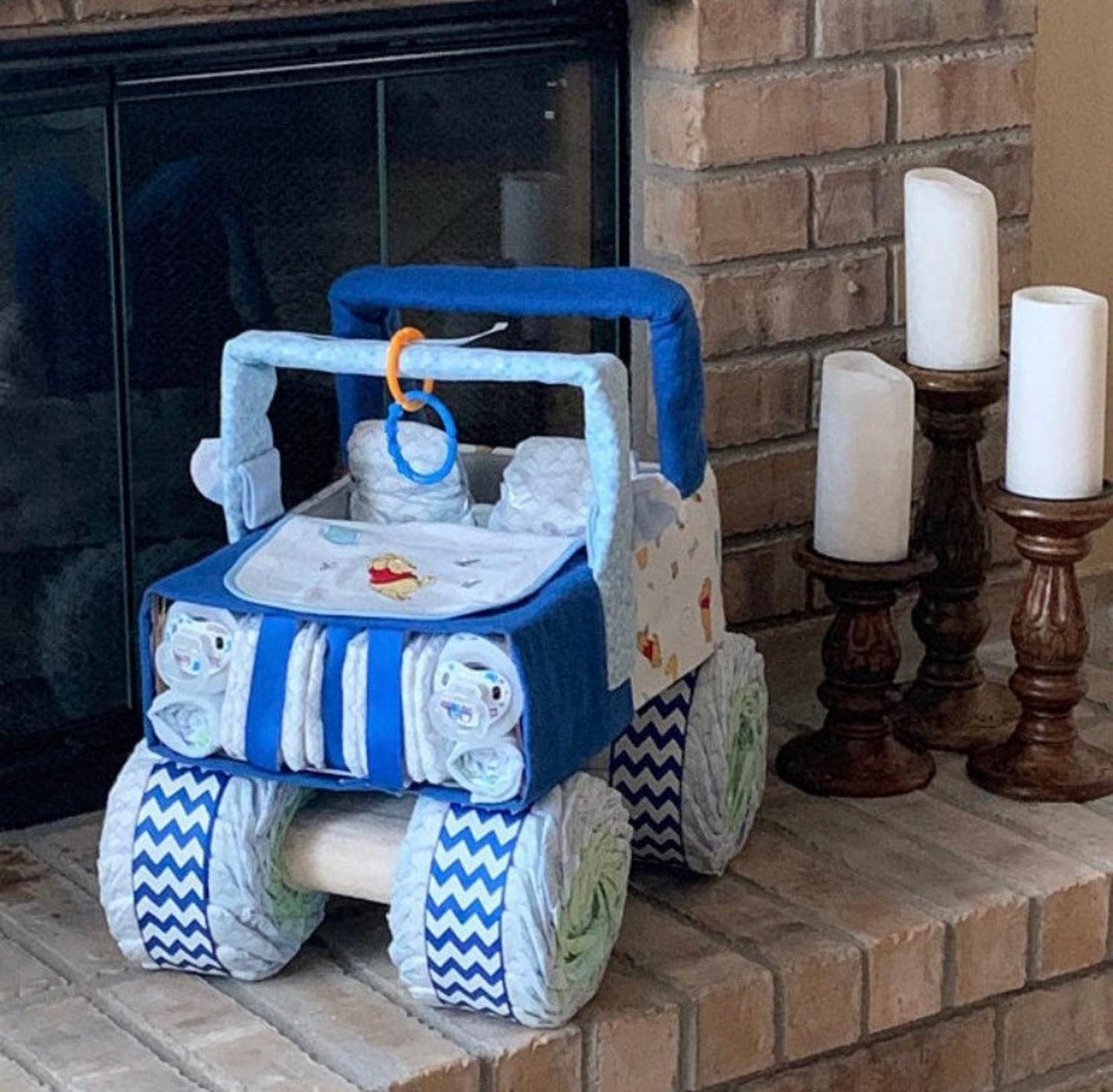 Trucks and Tractors Made From Diapers Make For The Cutest Gift To New Parents - Best baby shower diaper gift idea
