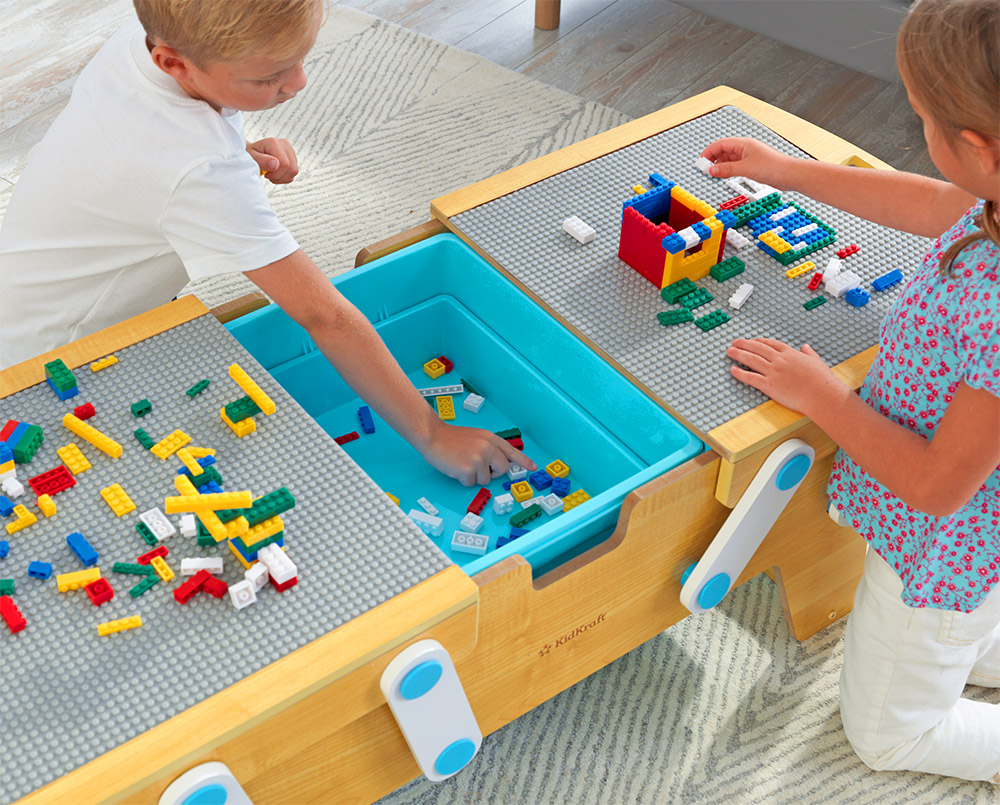 Lego play table - KidKraft Building Blocks Play N StoreTable opens up for storage