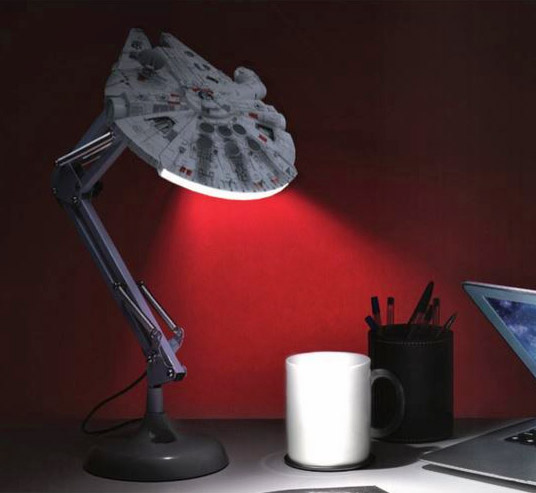 posable Millennium Falcon desk lamp