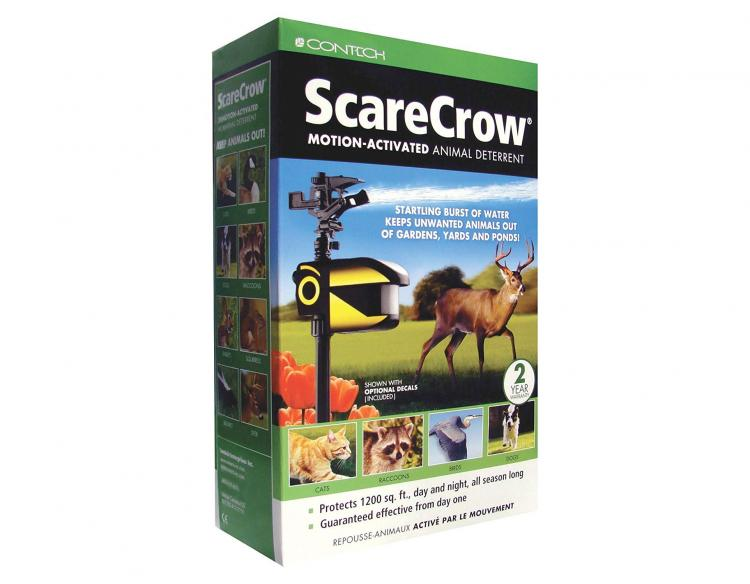 Motion Activated Solar Powered Sprinkler Repeller - Scarecrow sprinkler keeps pests out of yard and garden