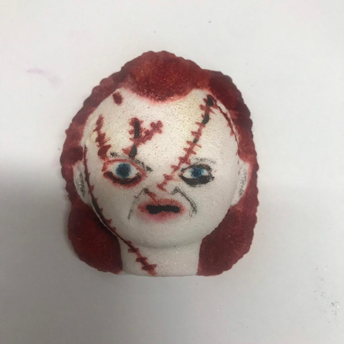 Scary Horror Chucky Child's Play Bath Bomb - Melting Chucky bloody bath bomb