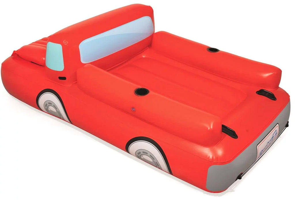 Giant Red pickup Truck Pool Float Has Beer Cooler Under The Hood