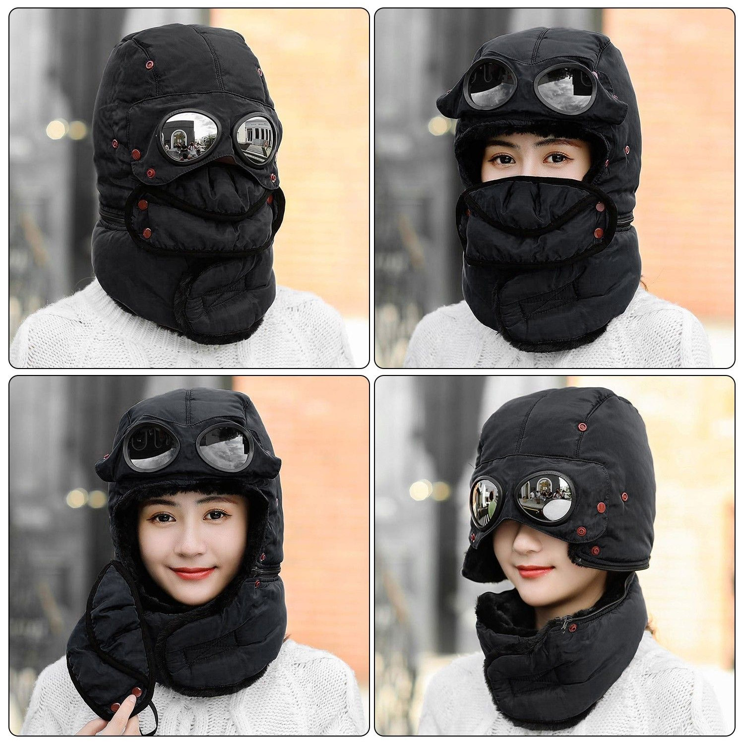 Winter Trapper Hat Covers Your Entire Head, and Has Integrated Sunglasses - Winter hat with face mask and goggles
