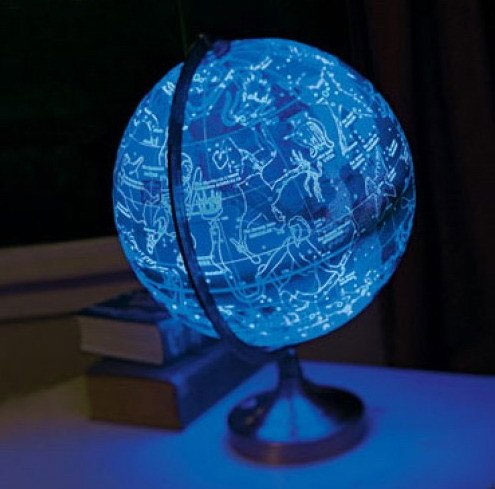 This Globe Shows Earth During The Day And Constellations
