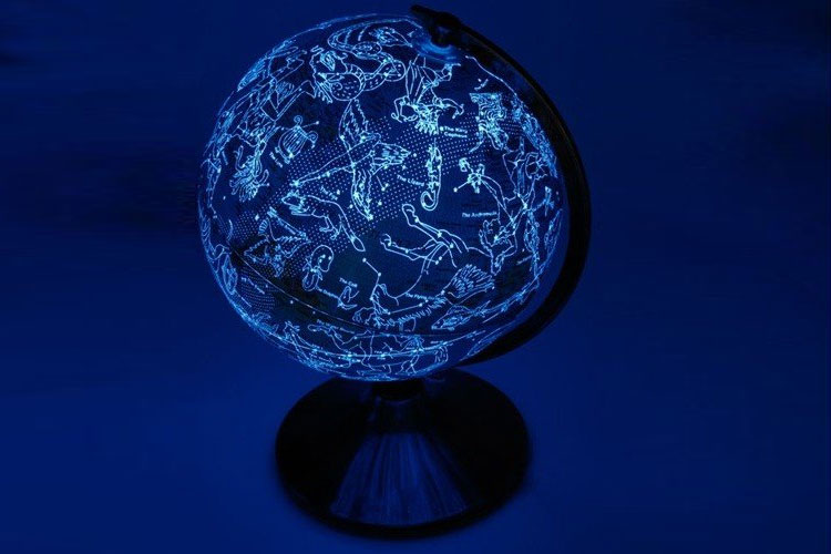 Celestial Globe Lamp Shows Earth During Day Constellations At Night