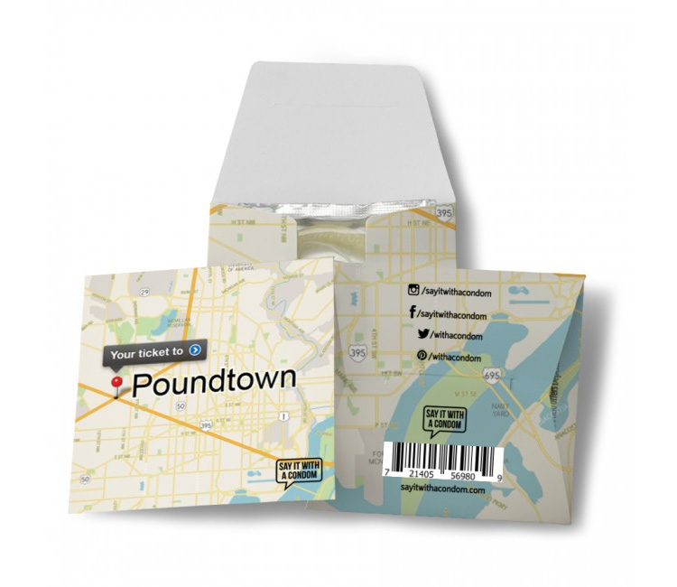 Your Ticket To Poundtown Funny Condom With Map