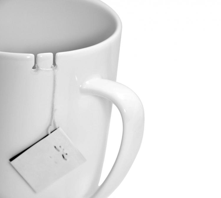 Tie Tea Cup - Wrap tea bag around notch in cup
