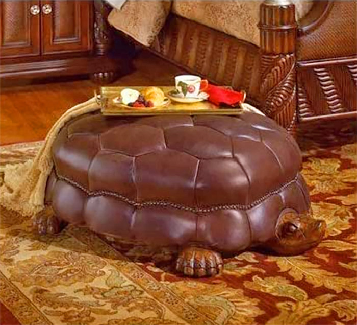 Tortoise Ottoman - Hand carved wooden and leather turtle ottoman