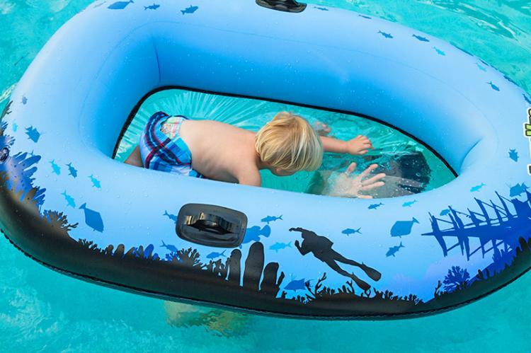Clear Bottom Inflatable Tube - Transparent Bottom Water Tube Lets You See Underwater Without a Snorkel