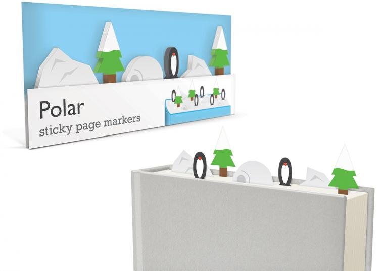 3D Sticky Book Page Markers - Polar