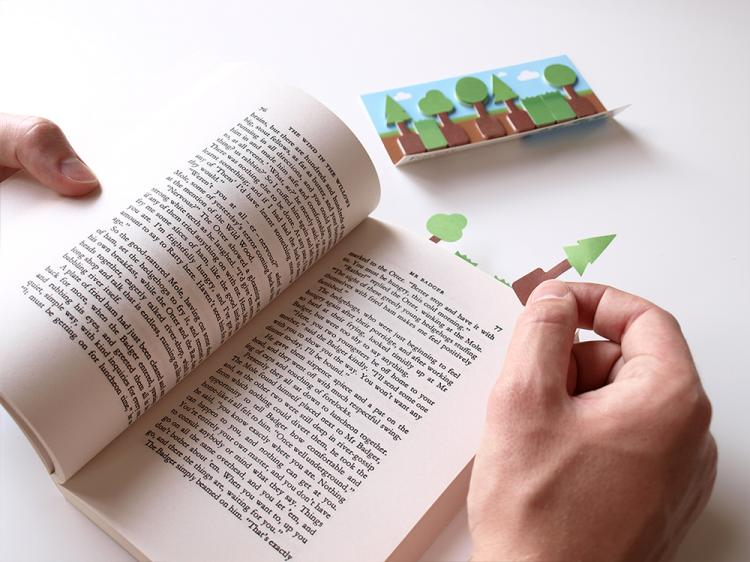 3D Sticky Book Page Markers - Forest