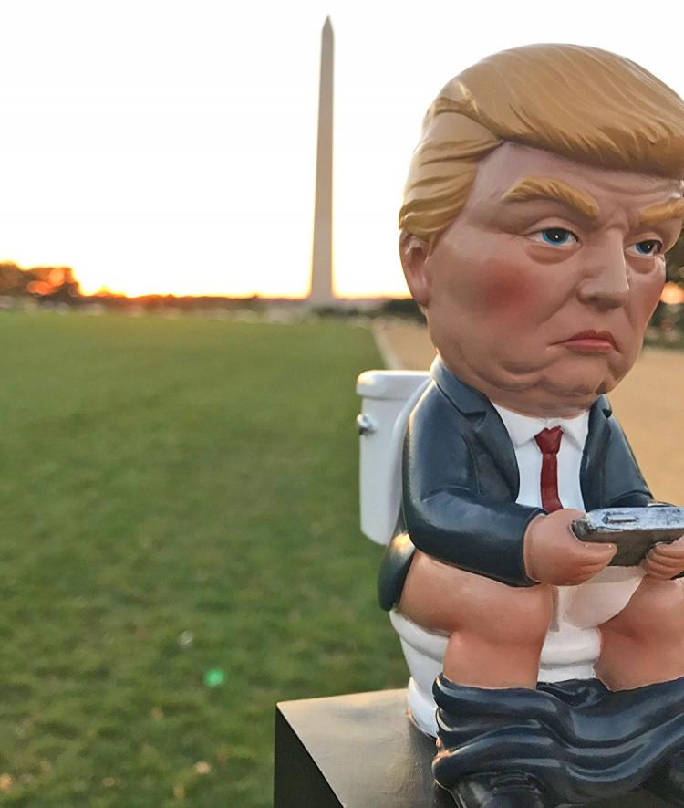 Trump Tweeting On The Toilet Mini Statue