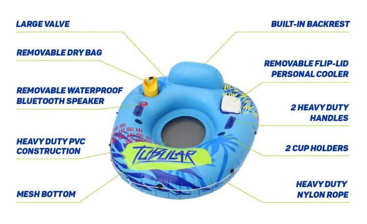 Tubular Tube - Inner-tube with bluetooth speaker and cooler - Features