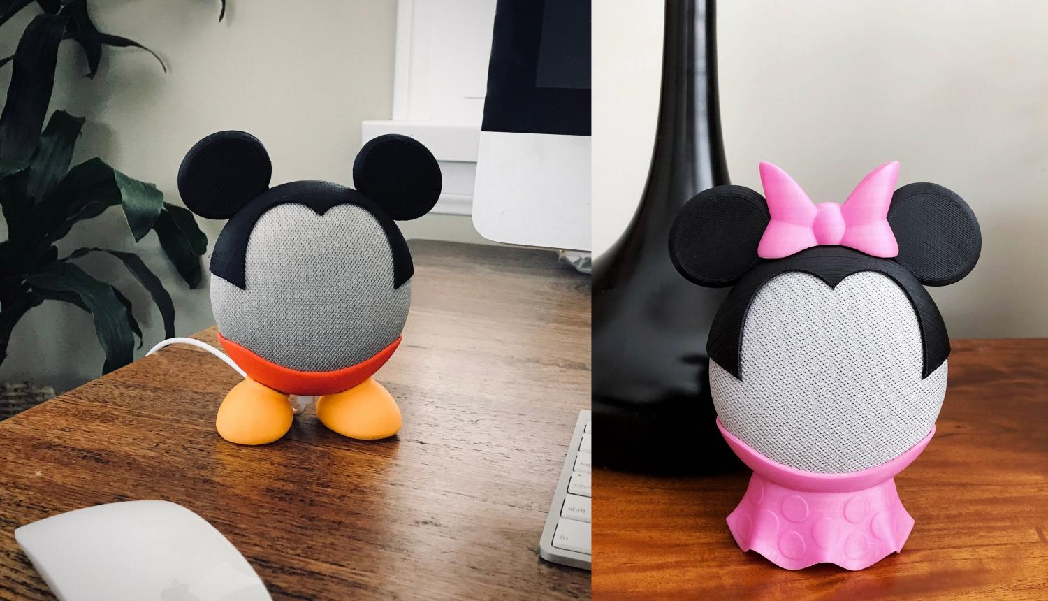 3D Printed Smart Speaker Holder Turns Your Google Nest Mini Into Mickey Or Minnie Mouse