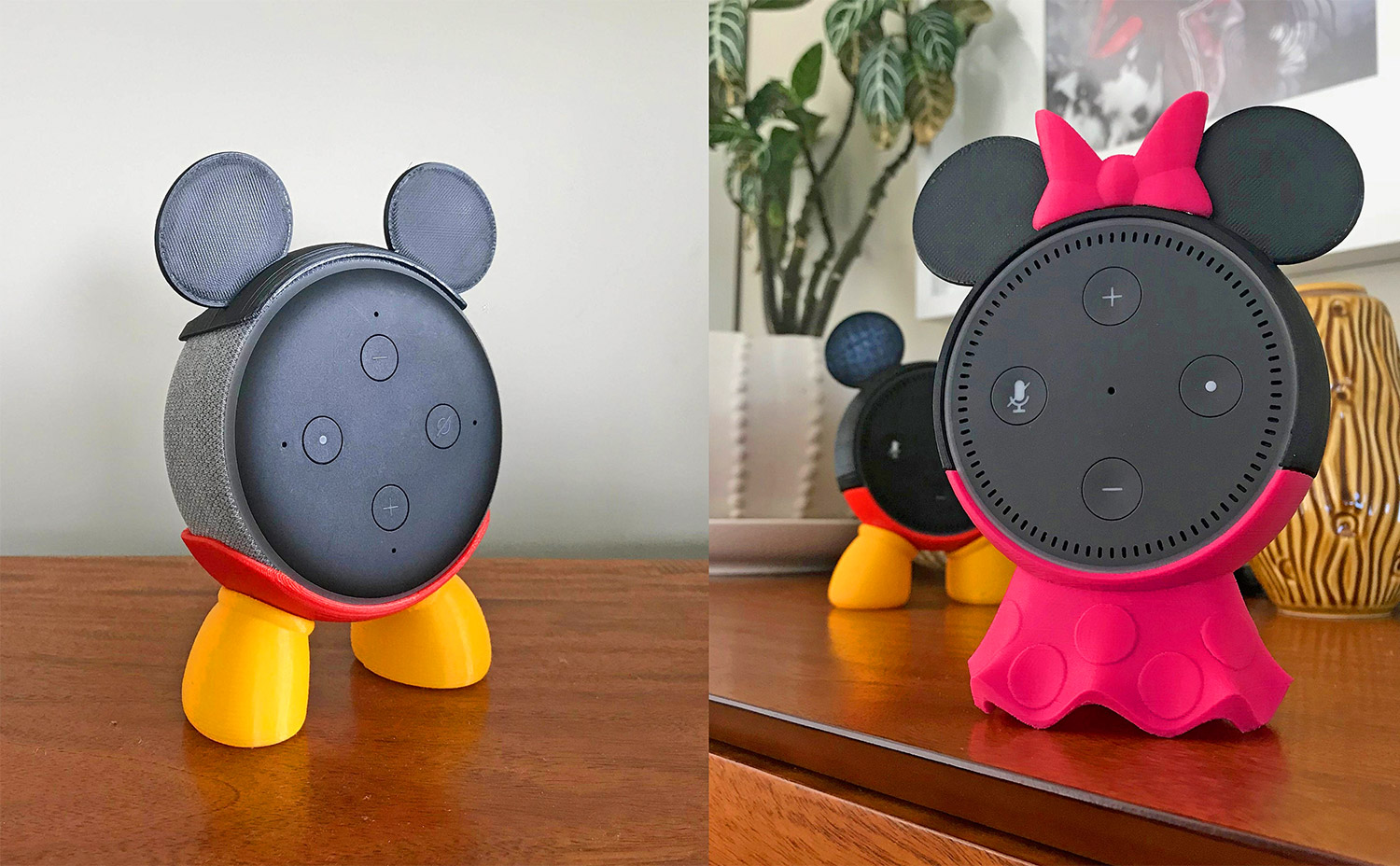 3D Printed Smart Speaker Holder Turns Your Amazon Echo Dot Into Mickey Or Minnie Mouse