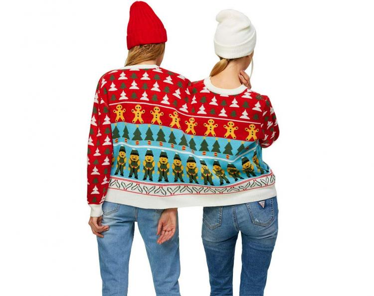 Two Person Connected Ugly Christmas Sweater - Dual-person ugly Christmas sweater