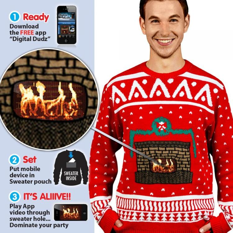 Ugly Christmas Sweater With Animated Fireplace