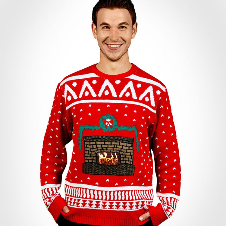 The ugly Christmas sweater with an animated fireplace is a sweater that works along side your smartphone to display an animated fireplace within your sweater that actually crackles and sounds like a r...