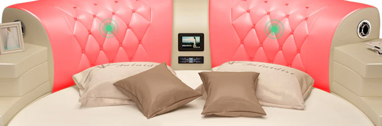 Ultimate Bed 2.0 - Bed with integrated massage chairs, bed with integrated surround sound speakers, bed with built-in TV