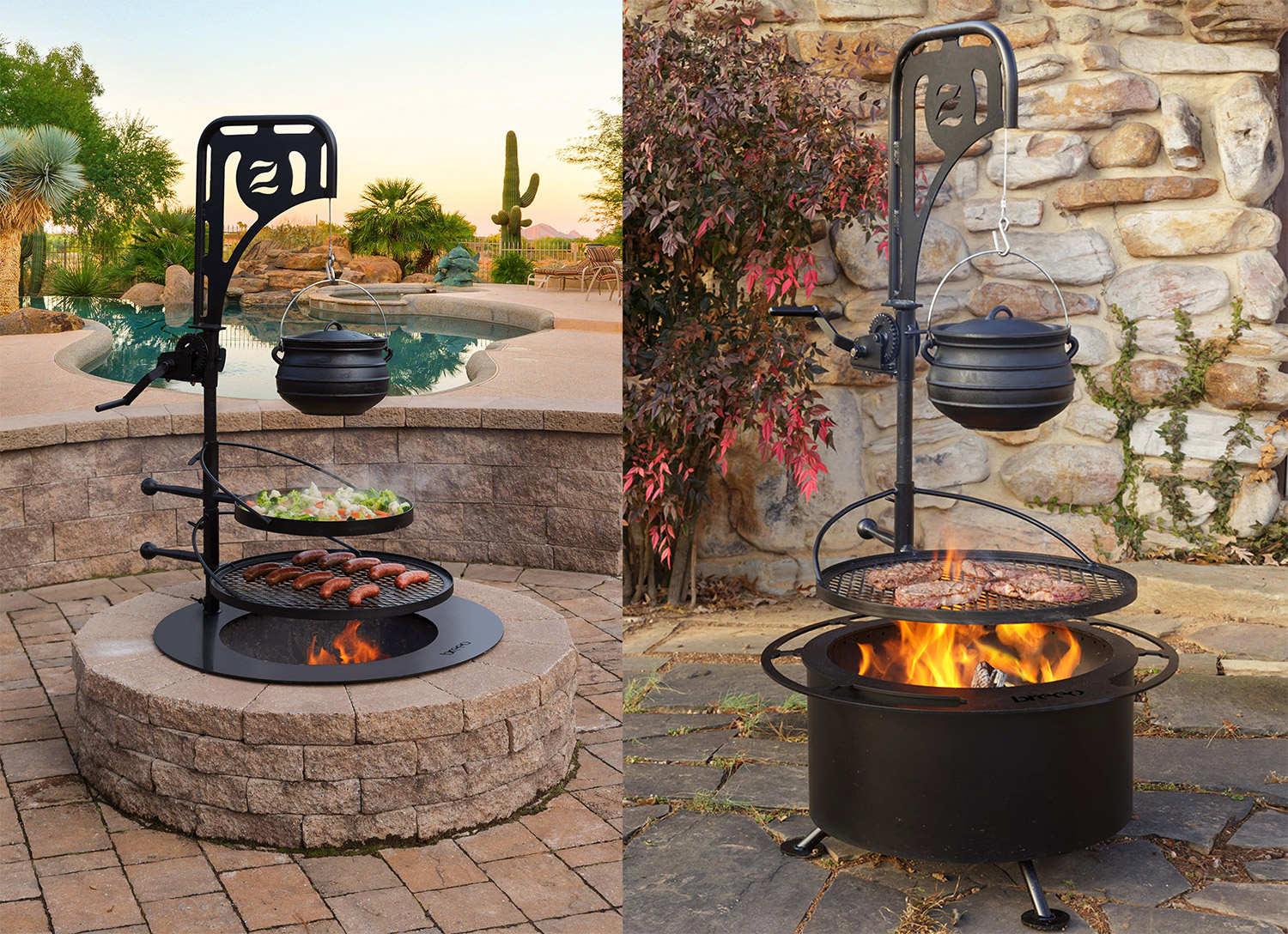 Image of: This Ultimate Campfire Grill Turns Your Fire Pit Into A Tiered Cooking Machine With A Winch