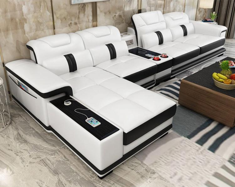 Ultimate Couch - Giant leather sectional couch with integrated massage chair - couch with speakers, couch with bookcase - Incredible Sofa