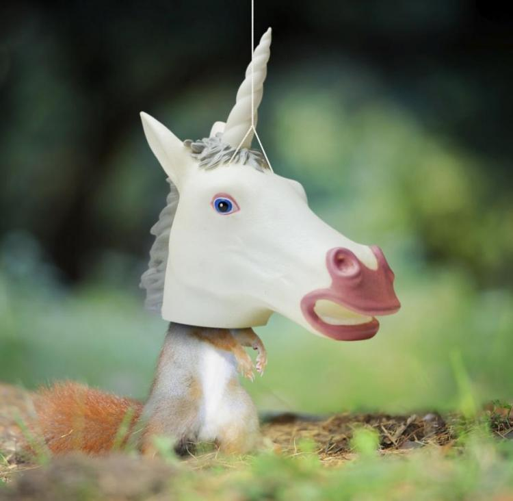 Unicorn Head Hanging Squirrel Feeder
