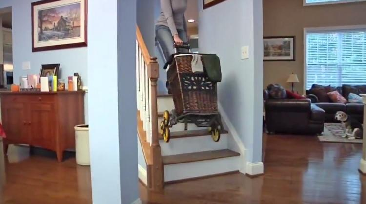 UpCart Stair Climbing Trolley Cart - Foldable helps you haul things up and down stairs