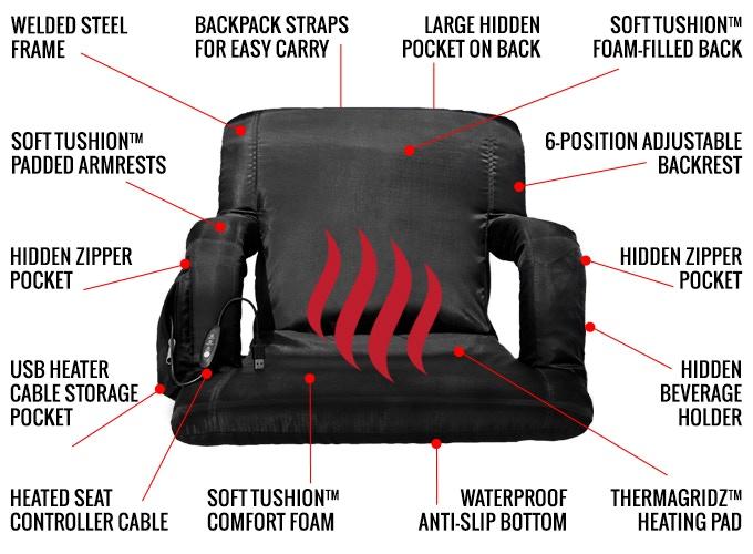 USB Heated Bleacher Chair - Full back support heated bleacher seat - USB portable battery powered stadium chair