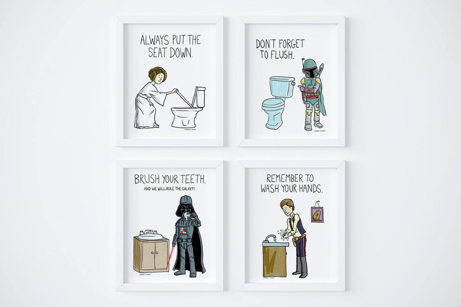 Use The Force Star Wars Toilet Bathroom Sign - Funny Star Wars Bathroom Sign