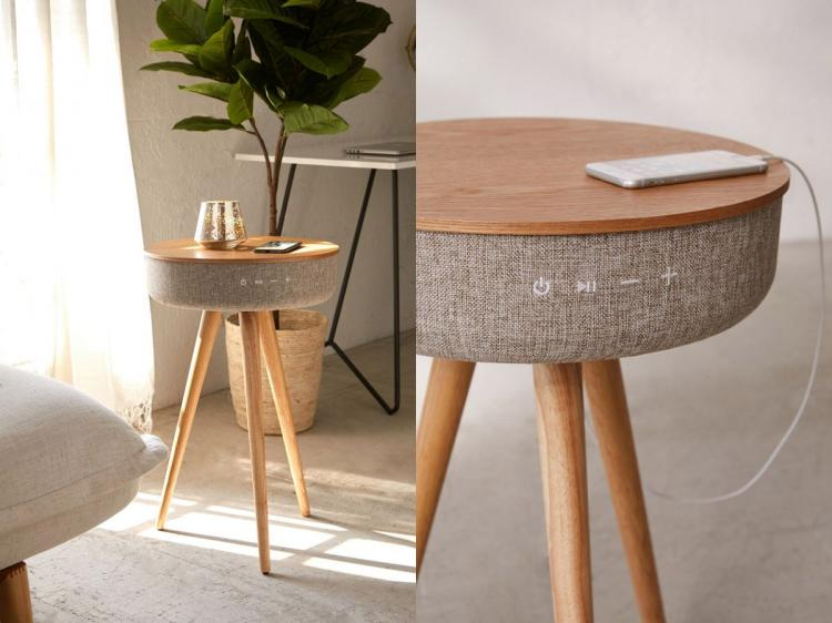 Victrola Smart Table With Bluetooth Speaker - Round mid-century smart speaker side-table