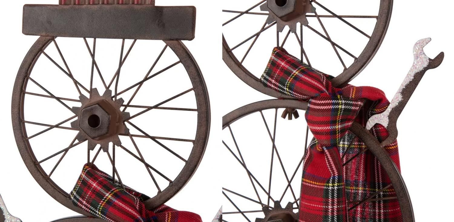 Vintage Bicycle Wheels Turned Into Snowmen - Bike turn snowman Christmas Decorations