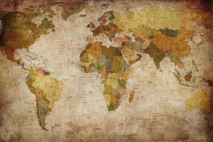 Vintage world map wall mural for Antique world map wallpaper mural