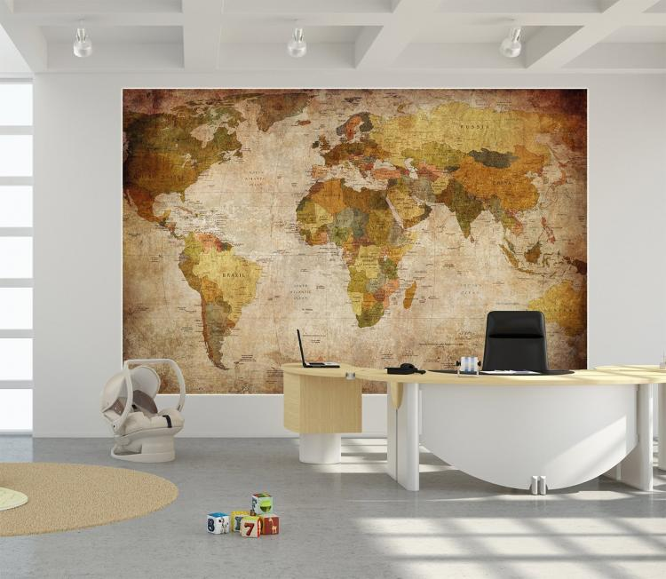 Vintage World Map Wall Mural – Map World Mural