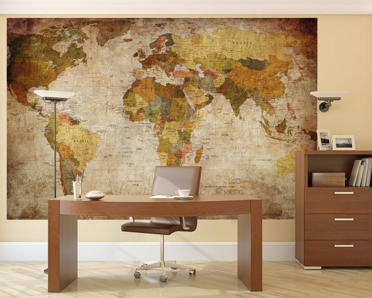 Vintage world map wall mural for Antique mural wallpaper