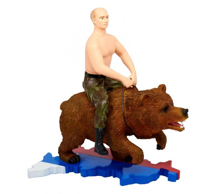 Vladimir Putin Riding a Bear Action Figure