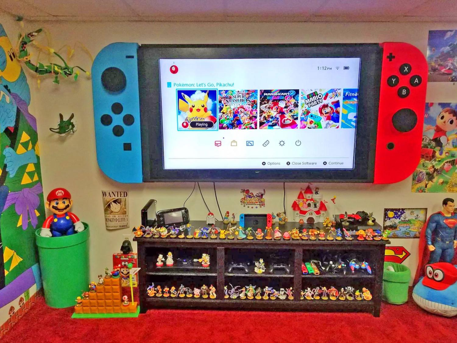 Wall-Mounted Cabinets Turn Your TV Into a Giant Nintendo Switch - Nintendo Switch TV Cabinets