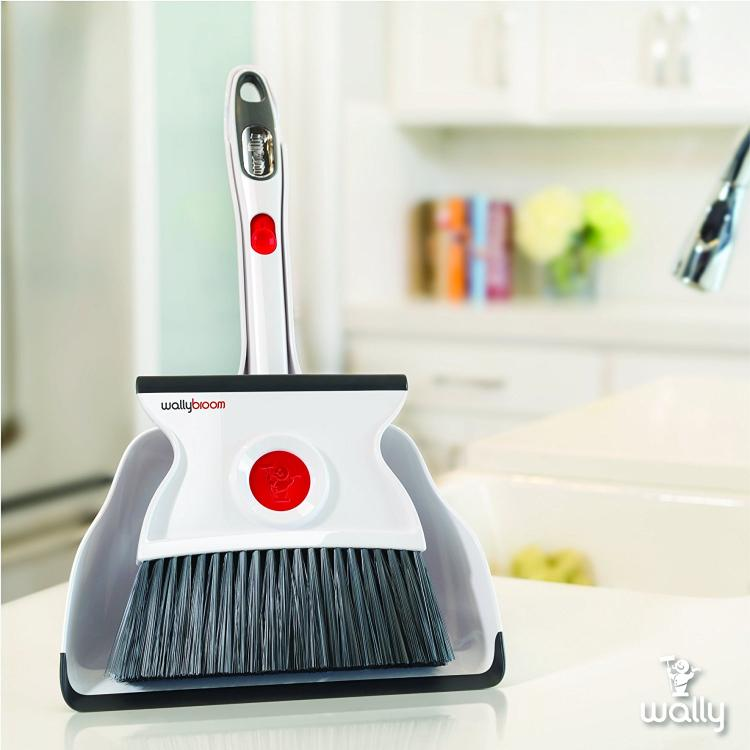 Wallybroom - Double-sided mini broom and dustpan - Flippable broom lets you sweep and squeegee floor - clean wet or dry messes