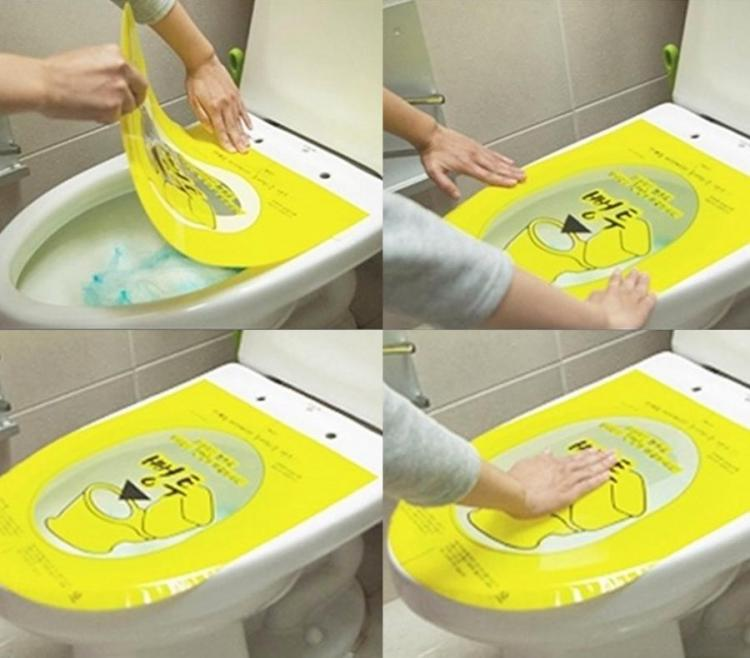 Coolest Japanese Gadgets - Pongtu Sticker Toilet Plunger Unclogs Toilets By Pushing Down On Bubble