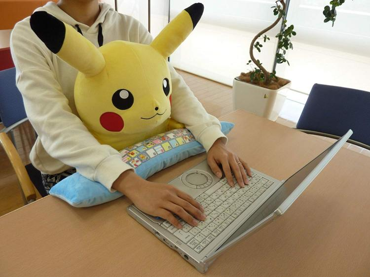 Coolest Japanese Gadgets - Plush Pikachu Body Cushion Protects Your Wrists While You Type At a Desk