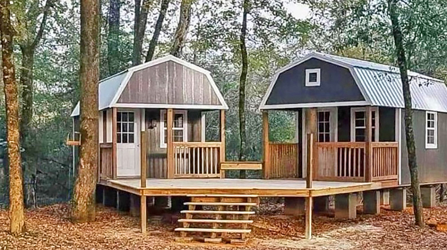 We-shed - dual tiny home he-shed and she-shed with conjoined deck