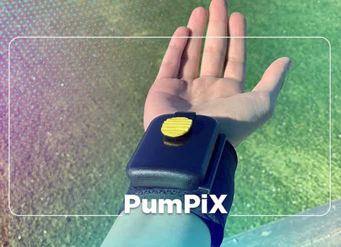 Wearable Hand Sanitizer Dispenser Pumps Disinfectant Into Your Palm - Pumpix wrist band sanitizer spray